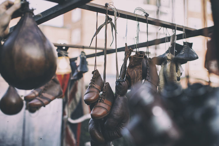 Boxing gears hanging at flea market