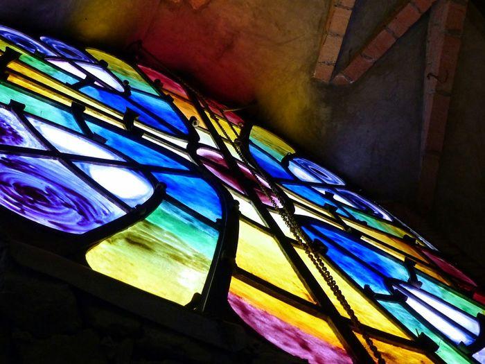 Multi Colored No People Church Cristal Indoor Gaudi Colònia Güell