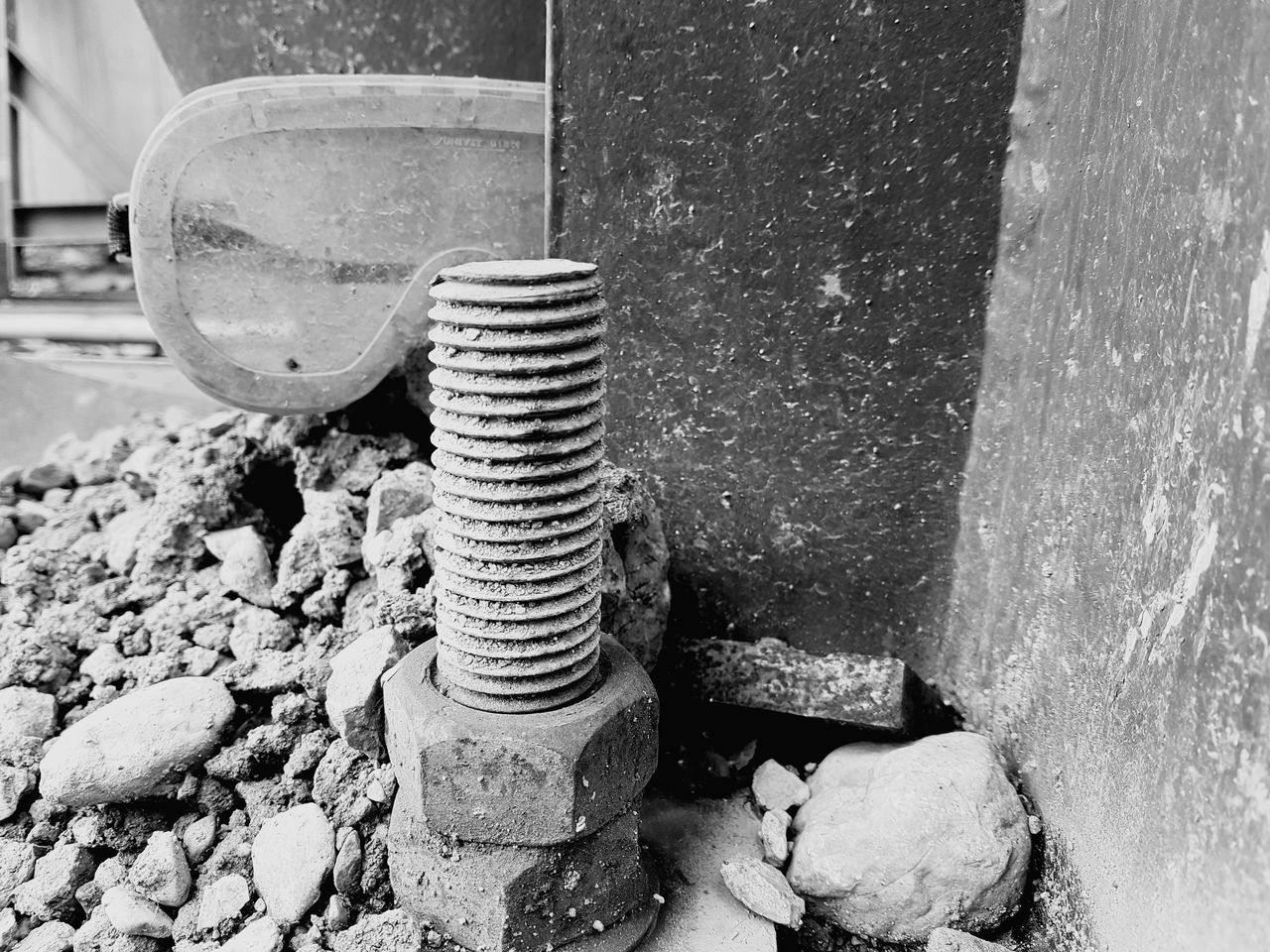 metal, day, machinery, solid, no people, close-up, abandoned, rock, bolt, outdoors, old, nut - fastener, damaged, focus on foreground, stone - object, rusty, rock - object, decline, industry, nature, deterioration