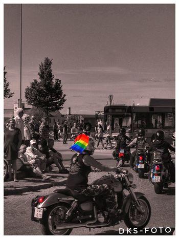 Prideparade Sweden The True Story Eskilstuna-streetphotography Motocross Biker Headwear City Motorcycle Men Helmet Road Land Vehicle Riding