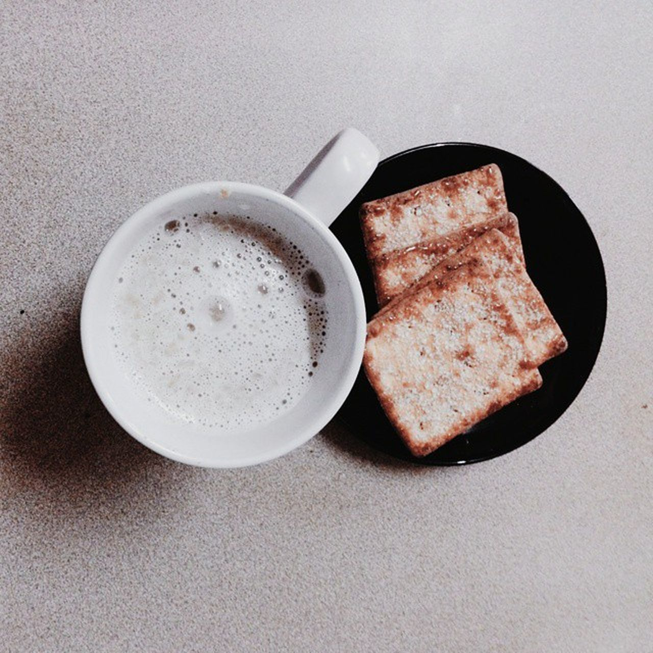 food and drink, food, table, still life, coffee cup, freshness, serving size, drink, no people, coffee - drink, indoors, directly above, breakfast, bread, healthy eating, plate, slice, ready-to-eat, close-up, frothy drink, toasted bread, day
