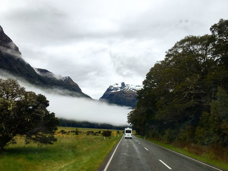 Wether Beauty In Nature Car Day Foggy Day Foggy Morning Grass Landscape Mountain Nature Newzealand No People Outdoors Road Roadtrip Scenics Sky The Way Forward Tranquility Transportation Tree