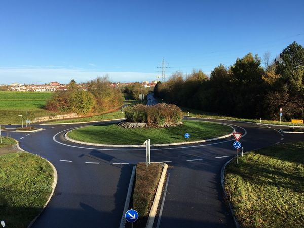 Roundabout Traffic No Traffic Empty Road Road Curve No People Autumn