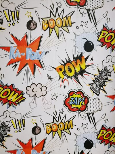Backgrounds Day No People Wall Childhood Memories Kids Paper Wallpaper BOOM! Pow Zap Bang