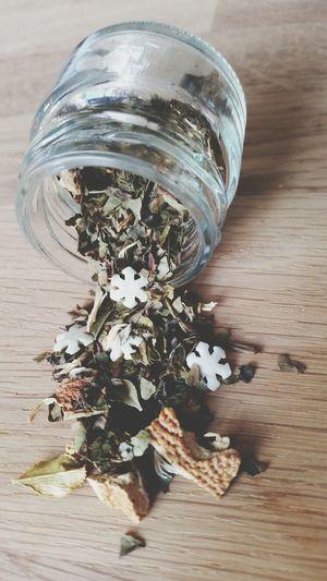 Cute snowflakes in our tea. :D