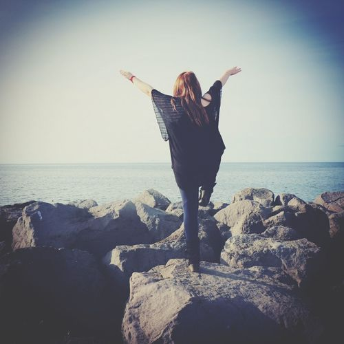 Sea Beach Horizon Over Water One Woman Only Arms Outstretched Outdoors Standing Sand One Young Woman Only Autumn Collection Autumn Iceland Njarðvik Tranquility