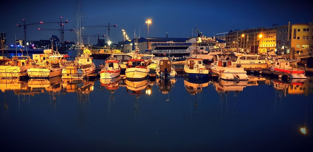 it's all so quiet Love To Take Photos ❤ Reykjavik Water Nautical Vessel City Harbor Illuminated Moored Sea Reflection Sky Pier Dock Port Calm