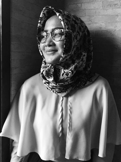 Nata in b/w (05) Young Woman In Bw Series In Bw Portrait One Woman Only Fashion Beautiful Woman Eyeglasses  Indoor Medium Close Up Window Light Mobile Photography IPhoneography Hijabstyle  Headscarf