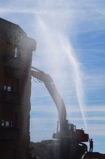demolition site Demolition Demolition Site Working Workers Worker At Work Water City Spraying Motion Splashing Long Exposure Silhouette Sky