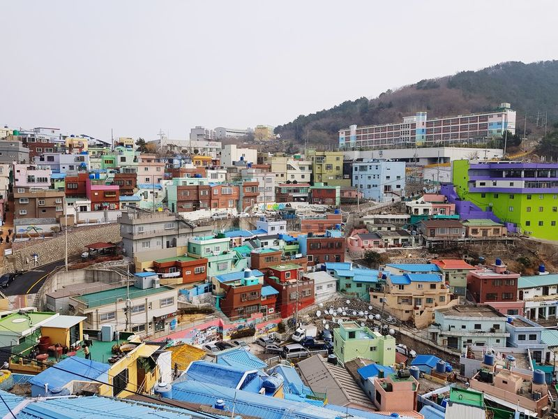Busan Gamchunmaeul Mountain Outdoors Day No People City Sky Architecture
