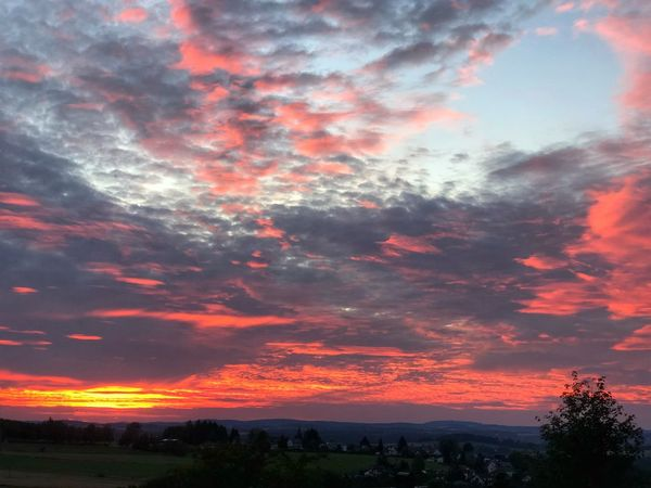 Sky on Fire in the Fichtelgebirge Fichtelgebirge Cloud - Sky Sky Beauty In Nature Scenics - Nature Orange Color Tranquility Tranquil Scene Landscape Outdoors Cloudscape Nature Sunset Dramatic Sky