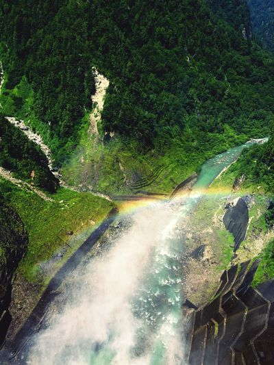 Lost In The Landscape Waterfall Water Motion Scenics Beauty In Nature Nature Outdoors River High Angle View Day No People Long Exposure Forest Mountain Tree Rapid Rainbow Nagano, Japan Dam Kurobe Dam EyeEmNewHere The Week On EyeEm An Eye For Travel