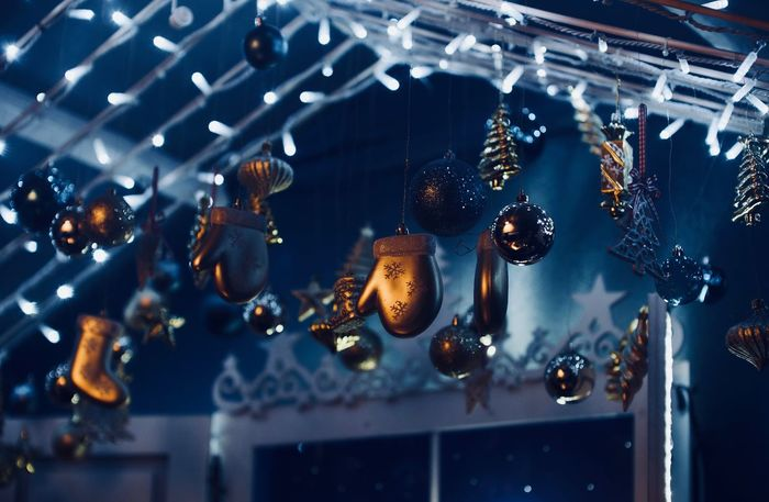 Low angle view of christmas decoration