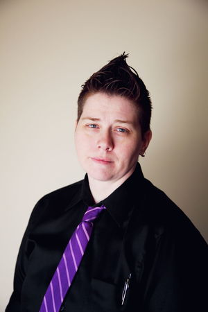 Queer Queer Women Genderfluid Gender Gender Identity Gender Equality Black Confidence  Front View Gay Headshot Lesbian Lgbt Portrait Purple Shirt And Tie Shorthair Teacher University Woman