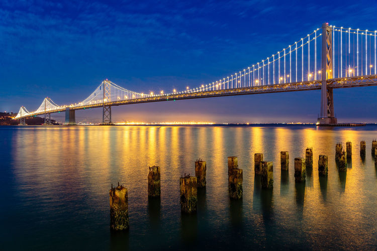 Bay Bridge Blue Blue Hour Bridge - Man Made Structure Horizon Over Water Illuminated Landscape Lights Low Angle View Night No People Outdoors Reflection Scenics Suspension Bridge Tourism Transportation Travel Travel Destinations Water Waterfront Yellow