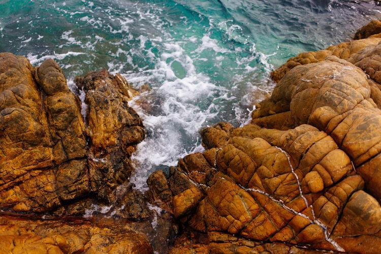 Alone Copy Space Nature Rock Wave Backgrounds Beach Blue No People Sea Selective Focus