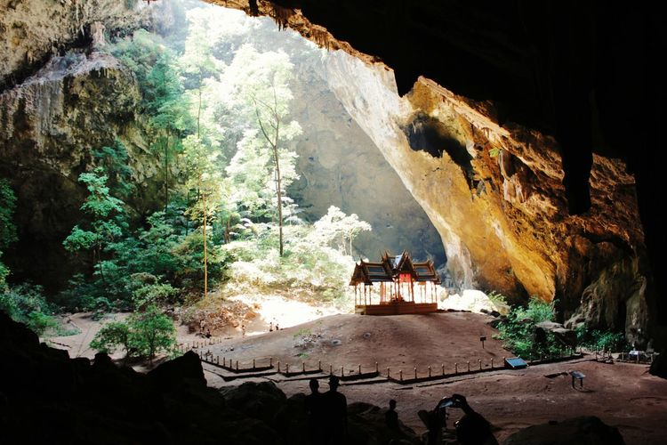 High angle view of gazebo by trees in cave