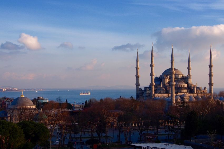 The blue mosque in early February Istanbul Mosque Blue Mosque Spring Minaret Turkey Sultanahmet Sultan Ahmed Mosque Islam Islamic Architecture Minarets Blue Sky