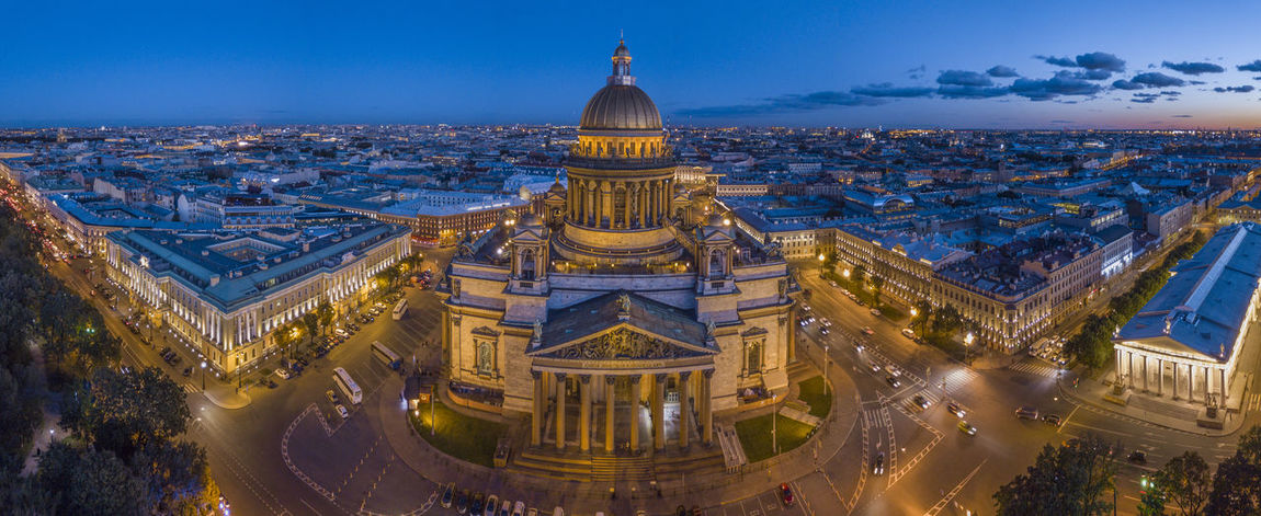 Saint Isaac's Cathedral areal panorama at dusk blue hour Saint Isaac's Cathedral Cathedral Church Saint Petersburg Russia Dronephotography Aerial View Aerial Architecture Panorama Tourism Travel Destinations Blue Sky Dusk Cityscape Night Lights Unique Perspectives Unique Amazing Amazing architecture