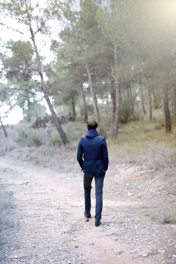 Rear view of man walking on road in forest
