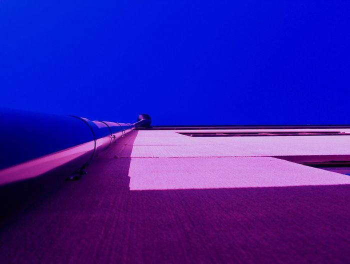 Bugview Colors Rednowen Architecture Blue Bugview Built Structure Clear Sky Copy Space Day Direction Low Angle View No People Outdoors Pink Color Pipe Purple Shadow Sky Sunlight Window First Eyeem Photo