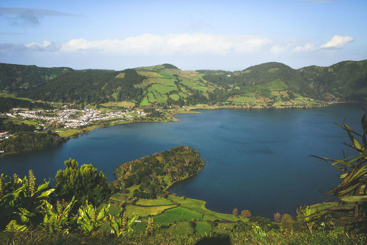 Azores Açores Ponta Delgada Açores - São Miguel Portugal Portogallo Furnas(Azoren) Furnas Park Lake View Green Square Citysquare Cat Black Cat Eye Cow Tree Water Mountain Lake Forest Pinaceae Pine Tree Sky Landscape
