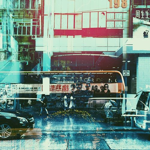 Double Exposure Hong Kong Architecture Building Exterior Built Structure Car City Day Land Vehicle Men Mode Of Transport Outdoors People Real People Streetphotography Transportation Stories From The City