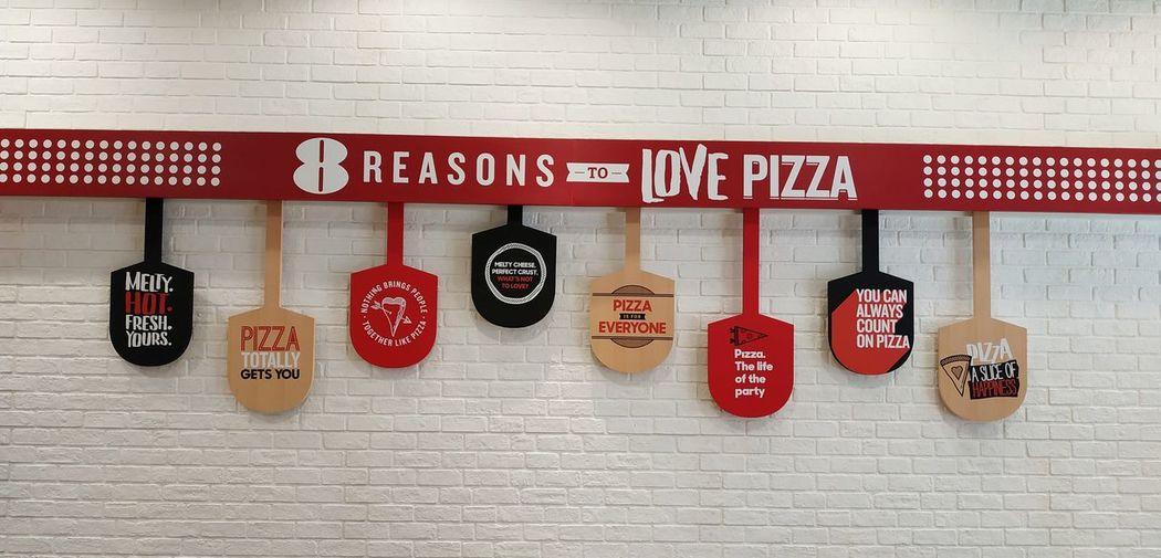8 reasons to love pizza Love Pizza 8 Reasons Pizza Pizza Time Pizzalover Pizza🍕 Thailand Thai Bangkok Pizza Hut  Hanging Text Wood - Material For Sale Stall Brick Wall Shop Market