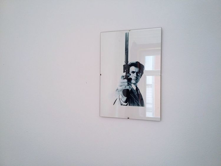 Clint Eastwood, Reflecting. · Germany Decoration Decor Framed Clint Eastwood Portrait Wall Wall Art White Wall White Whiteness Simplicity Minimalism Interior Views Interior Design ;)