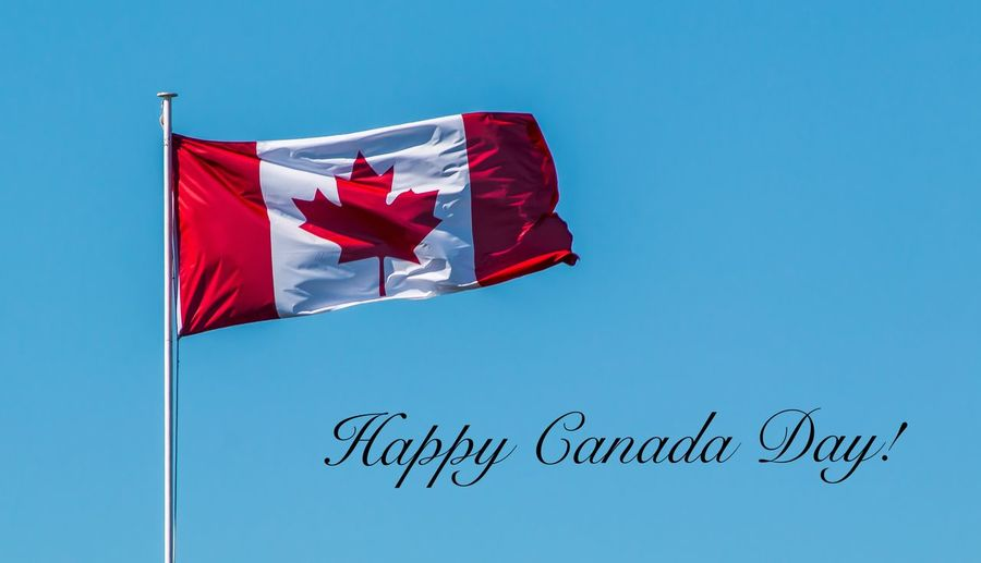 Blue Canada Celebration Clear Sky Culture Day Eh!  Flag Freedom Happy Canada Day Maple Leaf National Flag Nature No People Ontario, Canada Outdoors Party Time! Patriotism Pride Red Showcase June Sky Striped The Week On EyeEm Wind