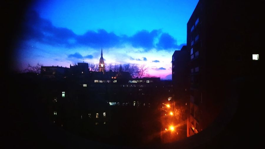 View from the school Night Nightphotography Winter Sky Cloud Blue Purple Pink Red Orange Black Natural Colours Lamp Lamp Post Buildings Silhouette White School Studying At Night Urban City City At Night Tower Clock Tower Skyline Tall