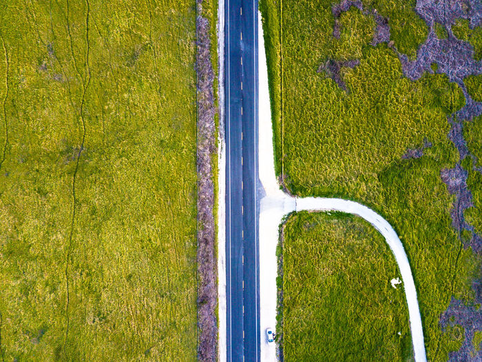 Drone  Fork In The Road Road Aerial View Beauty In Nature Day Grass Green Color Growth Landscape Nature No People Outdoors Rural Scene Scenics Tranquil Scene Tranquility Tree Water