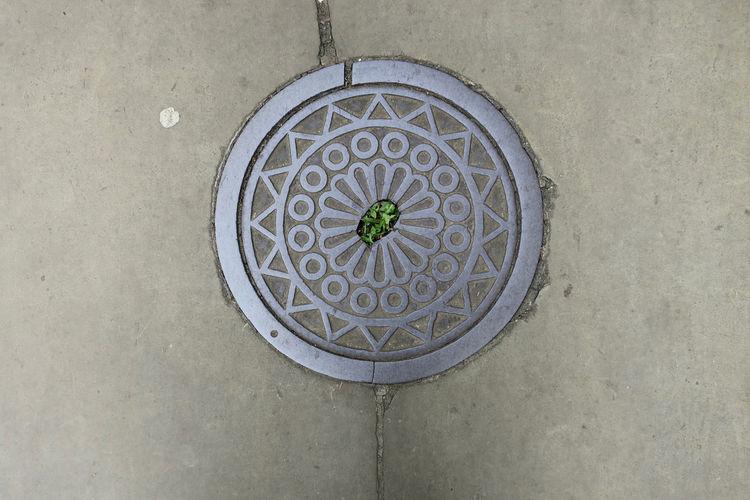Directly above shot of manhole on street