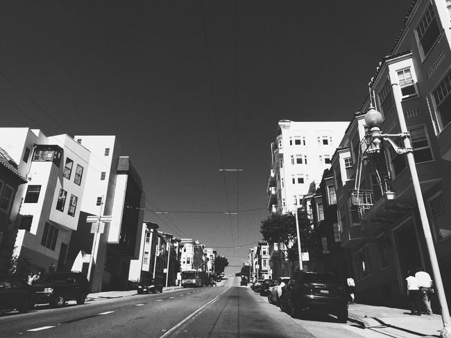 Building Exterior Architecture Built Structure Street Transportation The Way Forward Outdoors City Car Road Land Vehicle Clear Sky Day Sky The City Light EyeEmNewHere Relaxing Time Eyemphotos Tranquility No People Tranquil Scene Eyeem4photography Black And White Photography San Francisco Baylife
