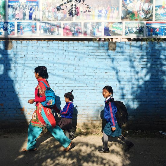 Good morning. Child Everyday Lives Childhood School Snapshot Outdoors Day Going To School Real People People Light And Shadow Uniform Nepal