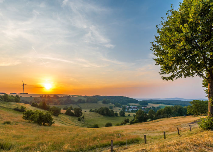Field Beauty In Nature Bright Cloud - Sky Environment Field Fuel And Power Generation Grass Land Landscape Mountain Nature No People Non-urban Scene Outdoors Plant Scenics - Nature Sky Sun Sunset Tranquil Scene Tranquility Tree