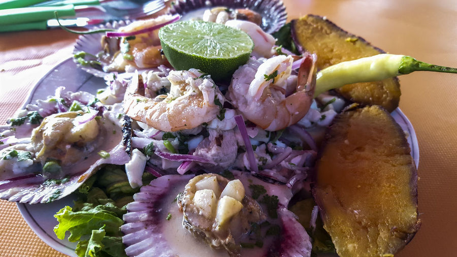 High angle view of sea food in plate on table