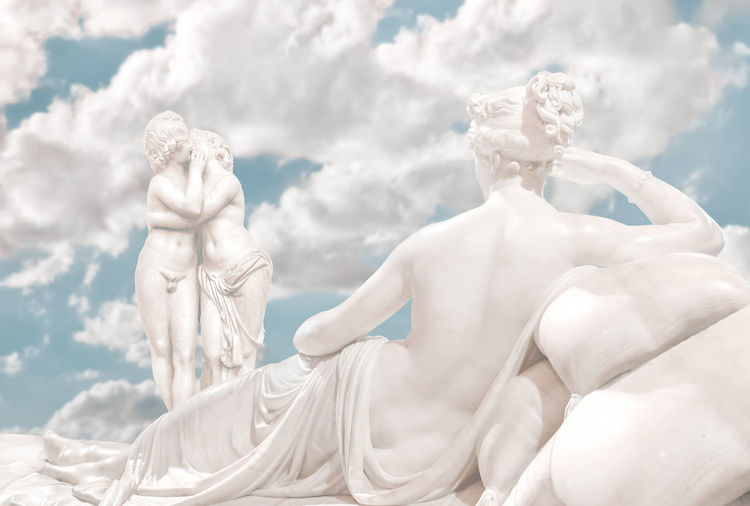 Fantasy dreamy love or sensual conceptual scene depicting a woman lying on bed whatching a couple kissing at heaven background Heavenly Photo Collage Beauty Digital Composite Dreamy Erotic_art Fantastic Fantasy Kisses Love Concept Mythological Oneiric Sculpture Sensual 💕 Surrealist Art Symbolic  Symbolism Vouyerism Woman Sculptures