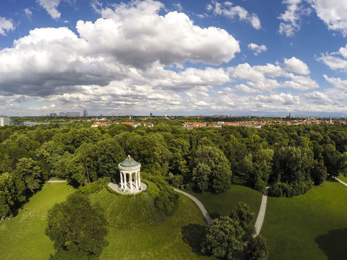 An aerial shot of the Monopteros monument in Munich, Germany Cloud - Sky Sky Tree Beauty In Nature Nature Landscape Day Scenics - Nature Environment Tranquil Scene No People Tranquility Growth Green Color Outdoors Architecture High Angle View Field Land Monument Englischergarten Monopteros Munich Bayern