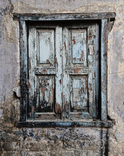 Blue Color India Paint Shutters Textures and Surfaces Amritsar Architecture Building Exterior Built Structure Closed Day No People Old Outdoors Pale Texture Weathered Window Wood - Material