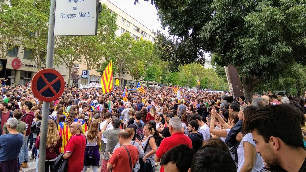 Sabadell, Catalonia Catalunya Catalonia Peace Peaceful Protest Large Group Of People Crowd Real People City