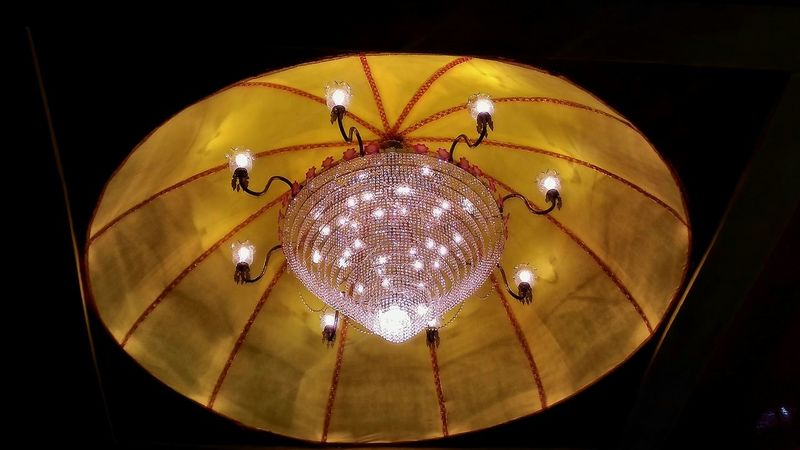 Low Angle View Ceiling Hanging Illuminated Indoors  Lighting Equipment Chandelier Hanging Light Glowing Decoration Electricity  Light Lit Elégance Luxury Festival Season Hinduism Creativity Indoors