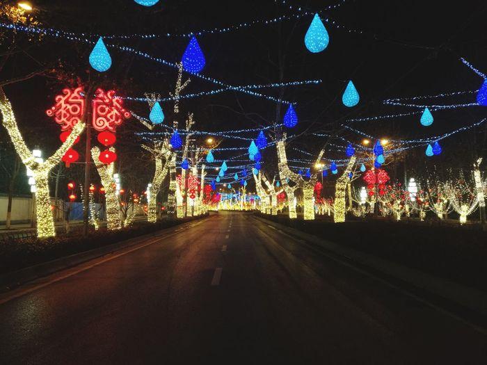 Night The Way Forward Illuminated Lighting Equipment Night Multi Colored No People Road