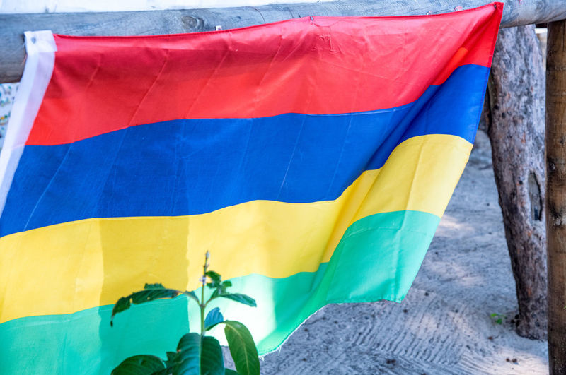 Close-up of multi colored flag