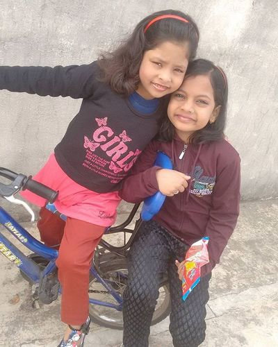 Nieces Sisters Cycling @ Rooftop @ Home Buxar GirlsHadFun