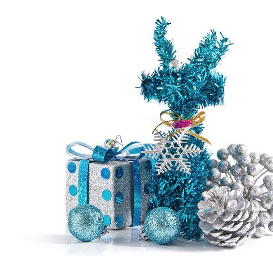 Close-up of christmas decoration on white background