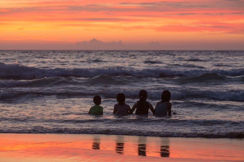Sea Sunset Beach Silhouette August Children Photography Childhood Memories Fukuoka-shi Fukuoka,Japan
