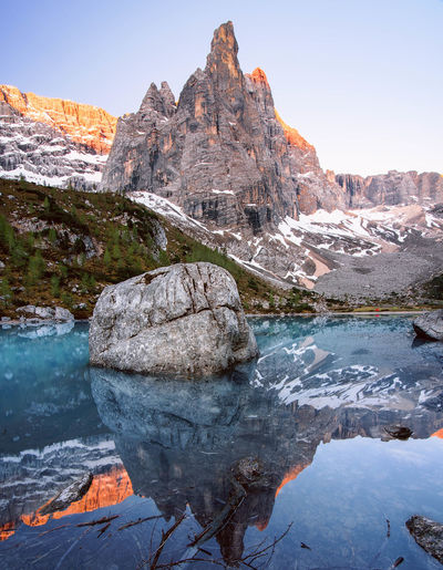 Freshness ❄💙 Mountain Rock - Object Outdoors Nature No People Travel Destinations Day Landscape Scenics Beauty In Nature Water Sky Reflections Sunrise Lake Dolomites, Italy Sorapis Lake Veneto Italy