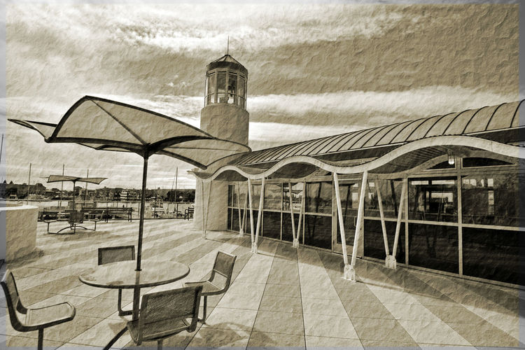 Jack London Square Observation Deck & Tower 3 Oakland, Ca. Embarcadero Cove Marina Geometric Patterns Geometric Architecture Sailboat Masts Water Waves Rendered Awning Pattern Pieces Black And White Antiqued Filter Black And White Collection  Black And White Photography Showcase April