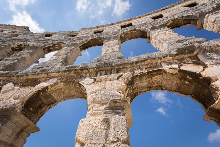 Colosseum Pula,Croatia Colosseum Pula,Croatia Ancient Ancient Civilization Ancient History Arch Archaeology Architectural Column Architecture Built Structure Cloud - Sky Colosseum Day History Low Angle View Old Ruin Outdoors Sky The Past Tourism Travel Travel Destinations Weathered